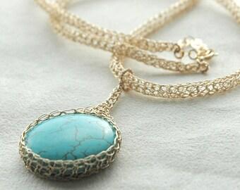 Turquoise pendant necklace,Turquoise jewelry,Unique pendant,Unique turquoise Jewelry gift for wife,Gemstone Pendant necklace,Unique Gift
