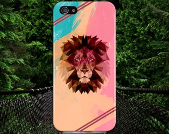Colorful Pastel Geometric Lion x Burgundy Stripes Case, iPhone X, iPhone 8 Plus, Tough iPhone Case, Galaxy s9, Samsung Galaxy, CASE ESCAPE