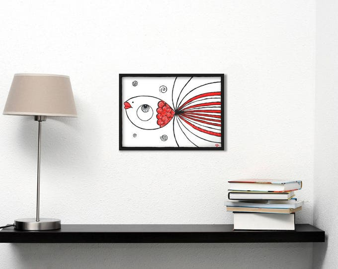 White and red fish - graphic acrylic painting on paper