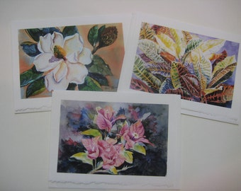 YOU PICK  3 Note cards your Favorite, 5 x 7 blank, watercolor print, watercolorsNmore, variety