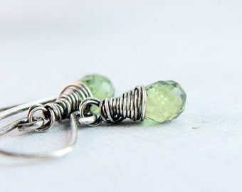 Green Apatite Earrings Gemstone Jewelry Sterling Silver Wire Wrapped Oxidized Silver Gifts For Her Small Earrings Stone Jewelry