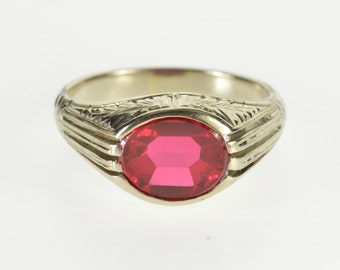14K Ornate Scroll Etched Syn. Ruby Retro Statement Ring Size 9 White Gold