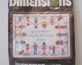 """Emroidery Kit Grandchildren Birthday Record  by Dimensions Vintage 18"""" x 14"""" No.3023 a2403"""