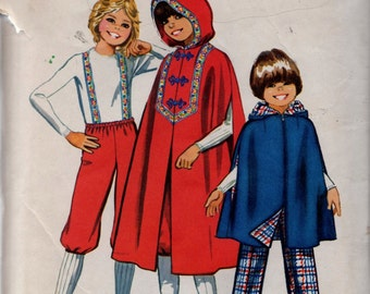 """VINTAGE SEWING PATTERN Simplicity 9587 Girls (Little Red Riding Hood) Cape - Two Lengths, Pants, Knickers Sz. 12 Chest 30"""" (Hard to Find)"""