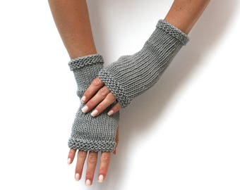 MORE COLORS Basic Cotton Mitts - Hand Knit Fingerless Gloves - Cotton Gloves - Knit Hand Warmers - Casual Gloves - Unisex Gloves - Gauntlets