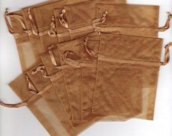 """Gold Organza Favor Bags, pack of 20  size  3"""" x 4"""""""