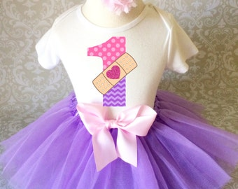 Birthday Doc McStuffins Light Purple Pink Number Age First 1st Shirt & Tutu Set Girl Outfit Party dress Headband Custom Size Cake Smash