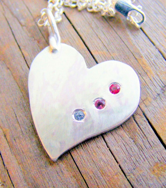 Sterling Silver Heart Birthstone Necklace, Large Heart Statement Pendant, Mother's Birthstone Jewelry, Handcrafted By Helene's Dreams