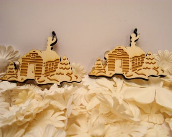 2 cottages 1857 clear 6 mm wooden