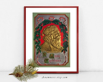 EMBOSSED SANTA 04 - large digital download printable image - vintage Christmas Santa for image transfer - cards, fabric, prints, pillows