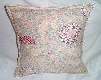 Antique 19th. C. William Morris Fabric Pillow Dupioni Silk Trim