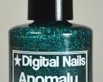 Anomaly: an insane sparklefest of emerald green holographic glitter nail lacquer by Digital Nails