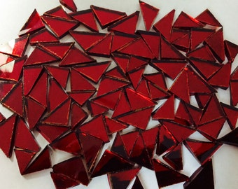 RED TRIANGLE MIRROR Tiles Colored Glass Mirror - Mosaic Tile Supply M7