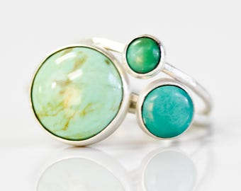 Recycled Sterling Silver Genuine Turquoise Round Ring / Chic Boho Jewelry / Simple Turquoise Ring / Simple Rings / Tibetan Turq