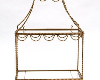 Italian Tole Gilt Twisted Gold Metal Rope Design 3 Tiered Glass Vanity Shelf