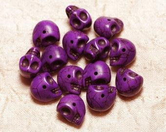 10pc - beads skulls Turquoise 14mm purple 4558550030320 synthesis skulls