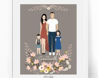 Custom family portrait illustration, DIGITAL  Drawing. Personalized family portrait. Personalized printable card gift art digital customized
