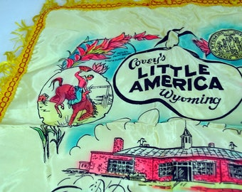 Covey's Little America WyomingVintage Pillow Cover - Satin Acetate with Fringe
