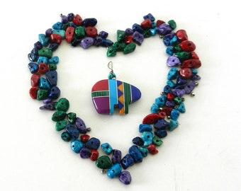 Vintage Inlaid Zuni Bear Fetish Beads, Beautiful Handmade Zuni Bear Beads