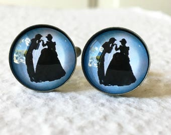Cinderella and Prince Charming Cufflinks - Choose your image - Great for Disney Themed Wedding - Disney Couples Disney Princess