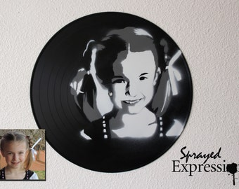 Custom Kid Portrait Spray Paintings on Upcycled Vinyl Record - Made to Order