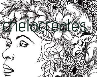 Billie Holiday, Adult Coloring, African American Coloring, Coloring Page,
