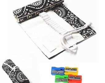 36/48/72 Holes Canvas Pencil Wrap Roll Up Pencil Case Pen Holder Bag Storage Pouch Black Bohemia Style