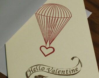 Hallo Valentine - Fallschirm Herz-Valentinstag-Karte