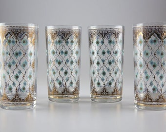 Set of 4 Vintage Highball Glasses with Gold Detailing