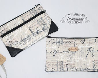 Music Composer print fabric with Black Leather Accent - Double Zip Pouch - Clutch - phone purse