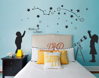 Star Decals, Vinyl Wall Decal, Constellation Wall Decals, Star Wall Stickers for Kids Room, baby boy girl nursery wall decals -DK285