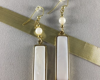 Gold and White Rectangle Drop Earrings