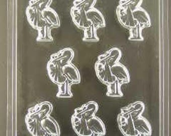 Baby stork cupcake toppers/pieces chocolate mold (ao971)
