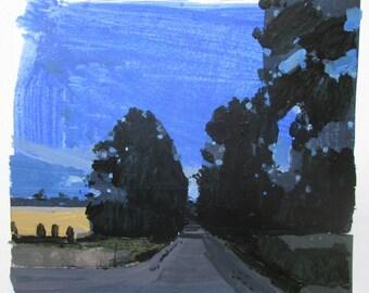 Evening Blue, Original Summer Landscape Collage Painting on Paper, Stooshinoff