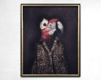 Quirky Art, Weird Art, Animal Art, Parrot Print, Home Decor, Whimsical Art, Funny Art, Wall Art, Photo Print, Parrot Art, Statement Art