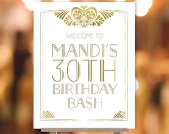 Great Gatsby Birthday Welcome Sign / Art Deco Roaring Twenties 1920s / Gold and White Gold Geometric ▷ Printable File {or} Printed & Shipped