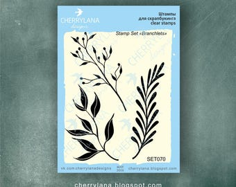 Branchlets Set of Stamps Clear Photopolymer, Clear Stamps, Clear Rubber Stamps, Flower Stamp Set
