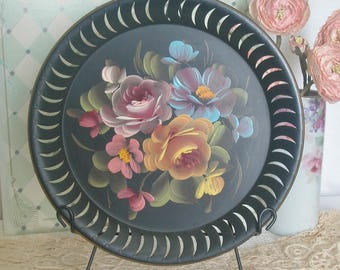 Vintage Hand Painted Roses Toleware Wall Pocket, Cottage, Shabby Chic