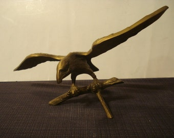 Vintage Solid Brass Eagle with Outstretched Wings