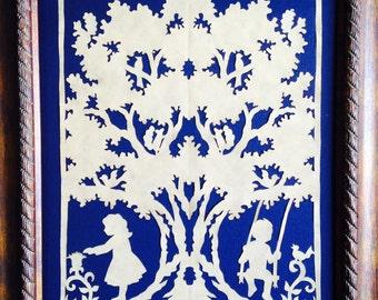 """PAPER CUT Under the Oak, ORIGINAL Art  Handmade Scherenschnitte, fits 8 x 10"""" frame"""