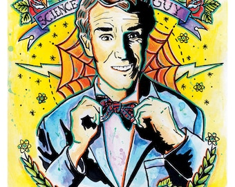 "8x10"" or 12x18"" Art Print Poster Bill Nye the Science Guy - Science Rules - tattoo art science"