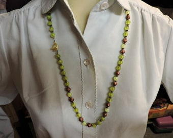 Green and Brown Necklace  with Gold Accents ...  about 30 inches long