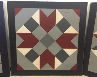 PriMiTiVe Hand-Painted Barn Quilt, Small Frame 2' x 2' - Farmer's Daughter Pattern (Gray Version)