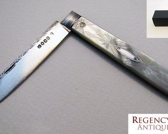 Top Quality 19th-century (1832) GEORGIAN Sterling Silver Mother of Pearl MOP English Antique Folding Pocket Fruit Pen Knife Penknife