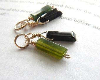 Two Small Green & Black Asymmetrical Dangles / For Interchangeable Earrings or Hoops, Rustic Funky Unique Linear Minimalist Pendant