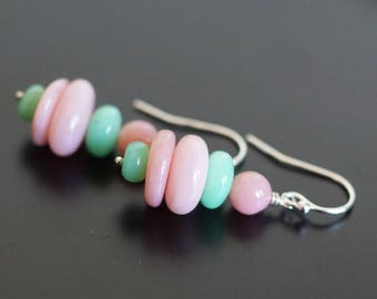 Chrysoprase earrings, Pink opal earrings, Pink Opal jewelry gift, Chrysoprase jewelry, green earrings, Chrysoprase gift, pink earrings