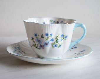 Shelley Blue Rock Teacup and Saucer, Dainty Tea Cup