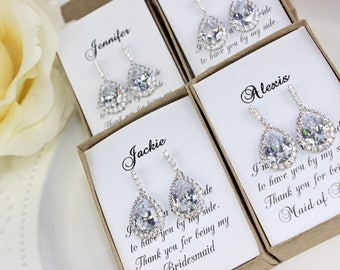 Bridesmaid Gift Crystal Cubic Zirconia Pear Drop Earrings Bridesmaid Jewelry Bridal Party Wedding Gift FREE Personalized Card!