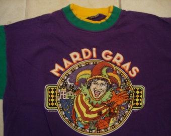 Vintage 90's Mardi Gras Holiday Souvenir Double Collar Purple T Shirt Size XL