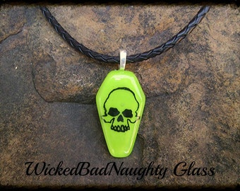 WBN Acid Green Gothic Coffin Skull Unisex Choker